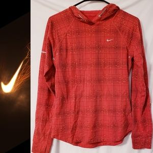 NIKE Red Printed Soft Hand Hoodie Size Small